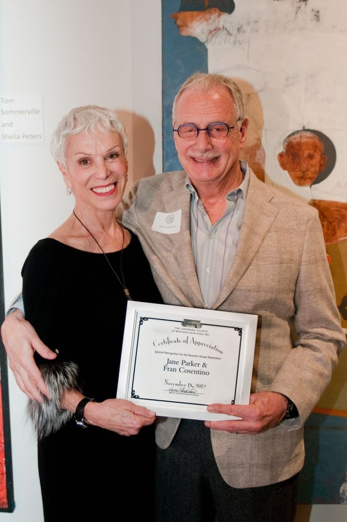 Owners of the Frank Lloyd Wright-designed Boynton House, Jane Parker and Fran Cosentino, accept Special Recognition for their restoration of the Boynton House. [PHOTO: Gardner Photography]