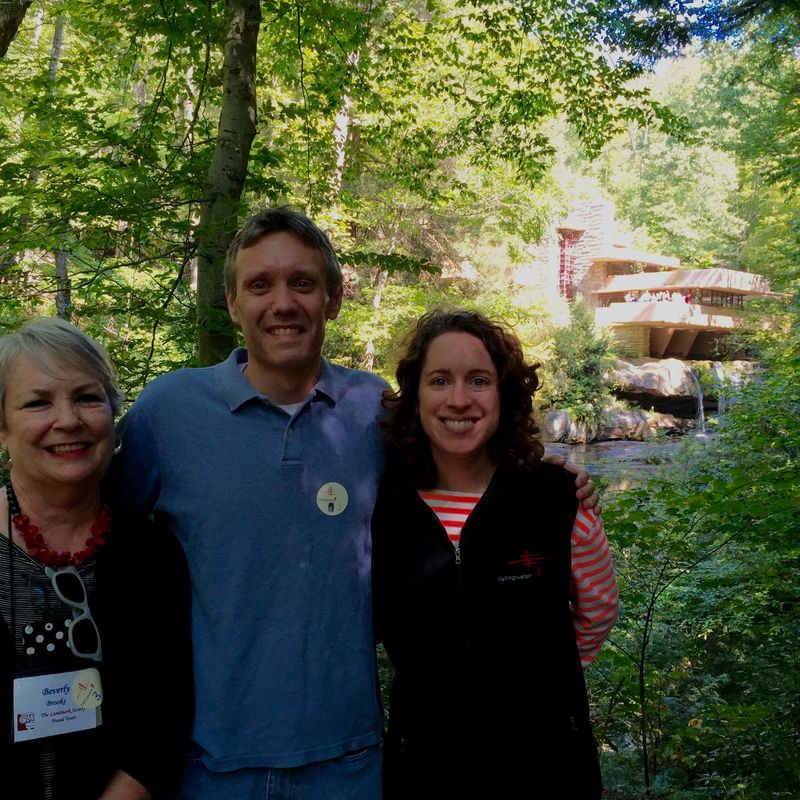 Tour goers and Wayne at Fallingwater