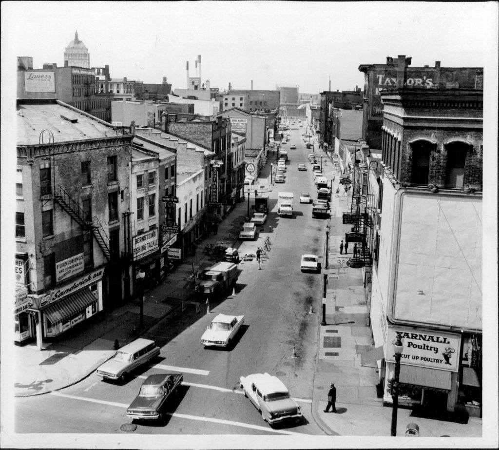 Front Street, May, 1963. Before urban renewal, Front St. was home to many gay-friendly establishments. PHOTO COURTESY: Democrat & Chronicle.