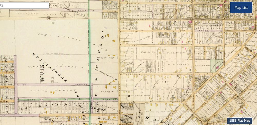 By 1900, more lots have been laid out, some houses have been built but the Sibely Tract is still largely undeveloped.