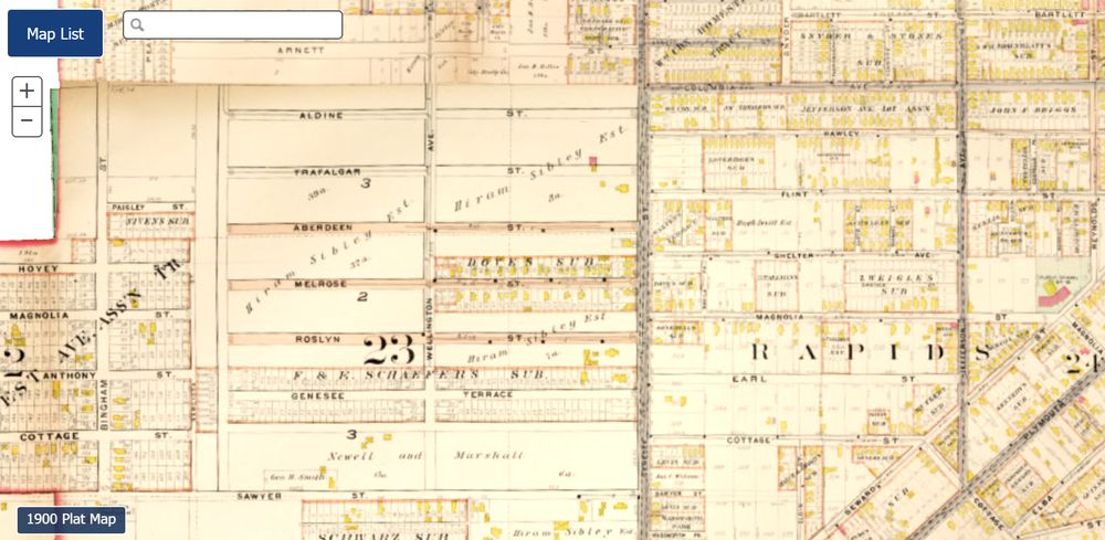 1888 plat map of Sibley Tract section of the 19th Ward neighborhood. Note how very few lots are laid out.