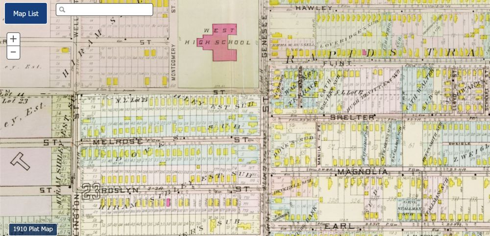 By 1910, the Sibley Tract is almost entirely developed with brand new houses and a street grid.